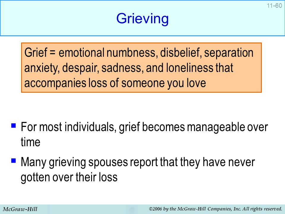 Grieving For most individuals, grief becomes manageable over time. Many grieving spouses report that they have never gotten over their loss.