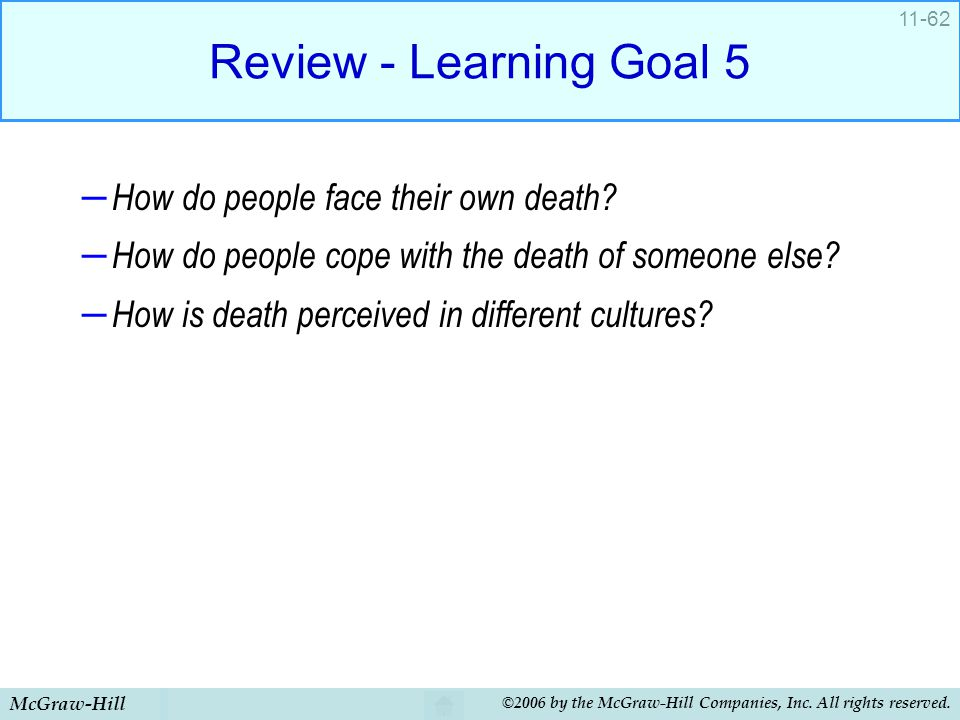 Review - Learning Goal 5 How do people face their own death