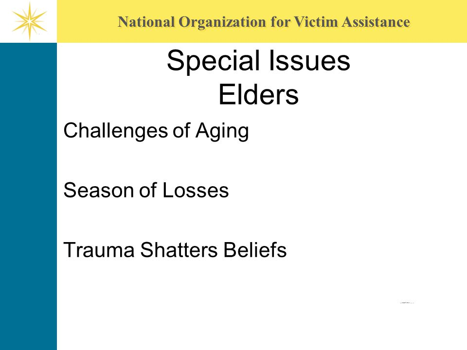 Special Issues Elders Challenges of Aging Season of Losses