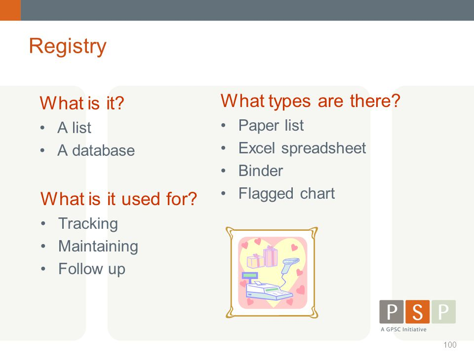 Registry What types are there What is it What is it used for