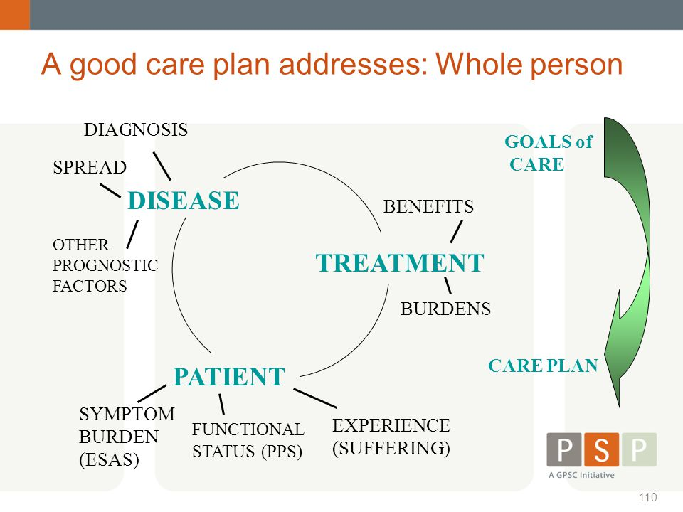 A good care plan addresses: Whole person