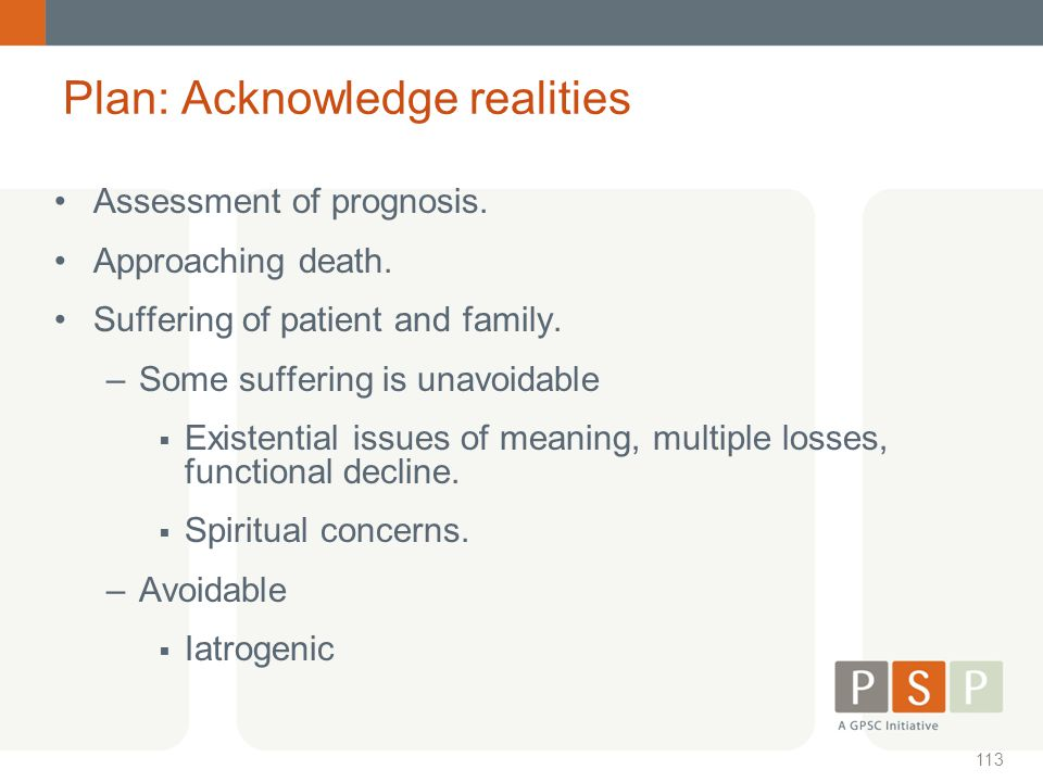 Plan: Acknowledge realities
