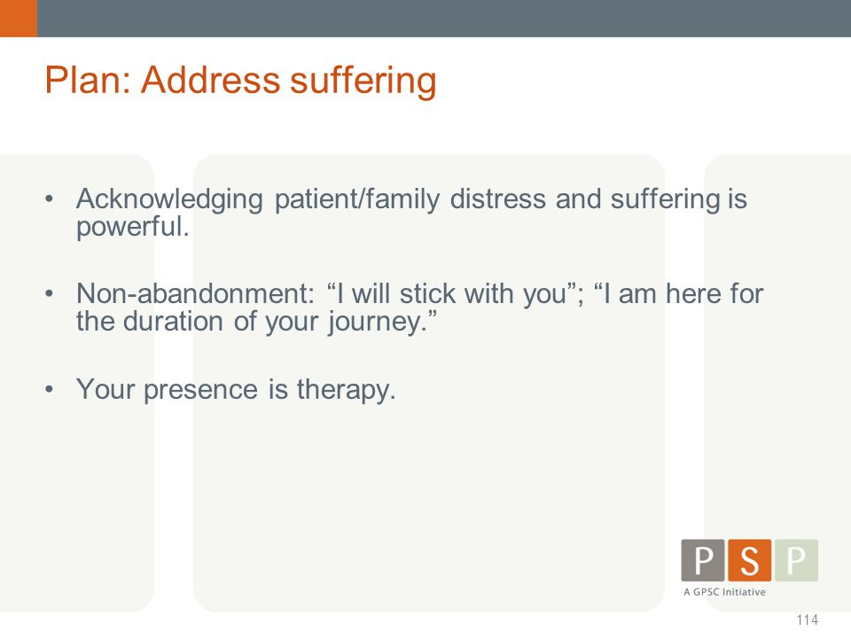 Plan: Address suffering