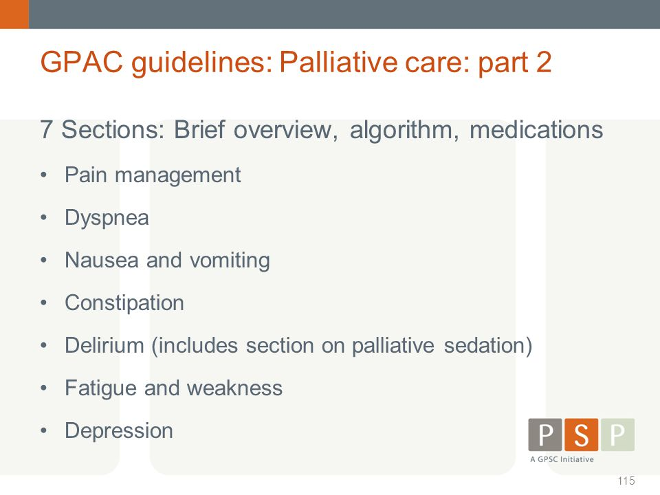 GPAC guidelines: Palliative care: part 2