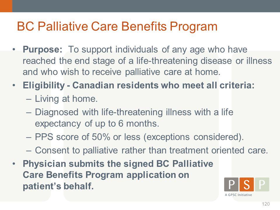 BC Palliative Care Benefits Program