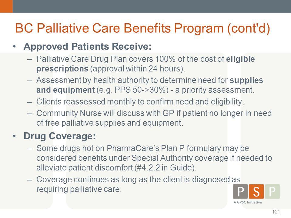 BC Palliative Care Benefits Program (cont d)