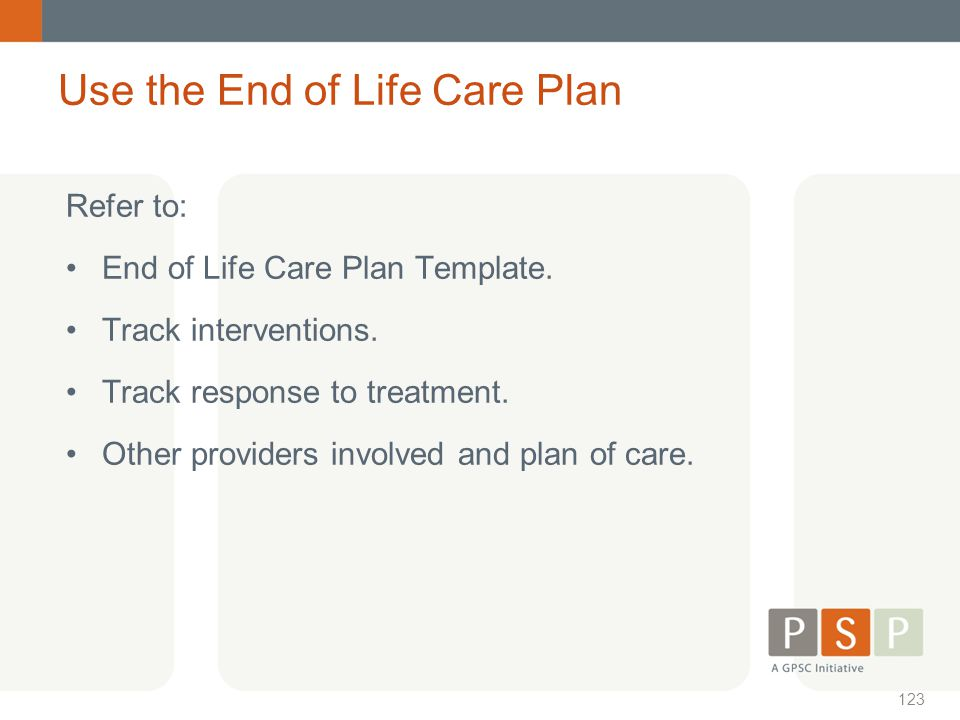 Use the End of Life Care Plan
