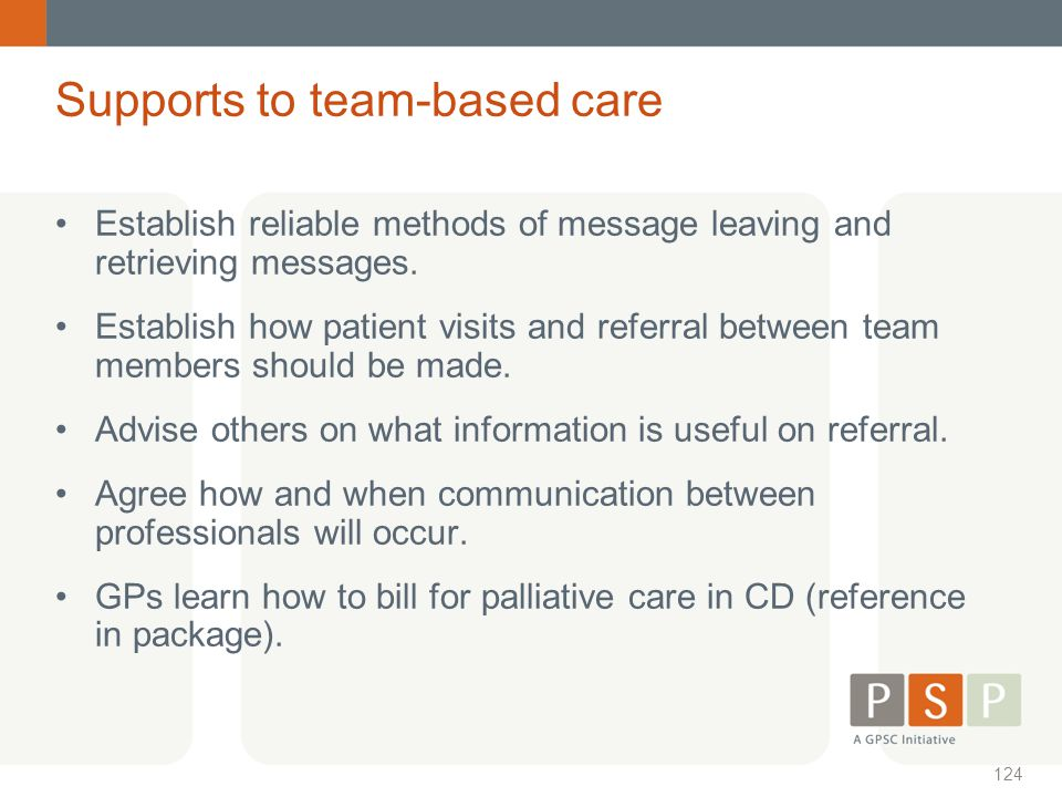 Supports to team-based care
