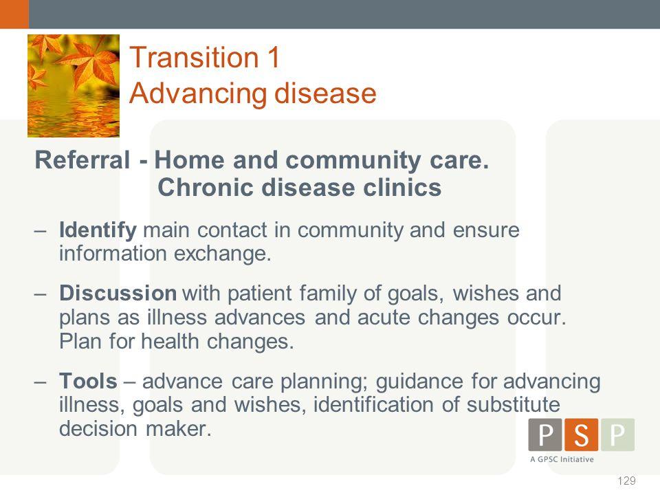 Transition 1 Advancing disease