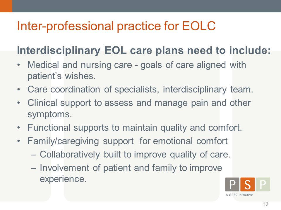 Inter-professional practice for EOLC