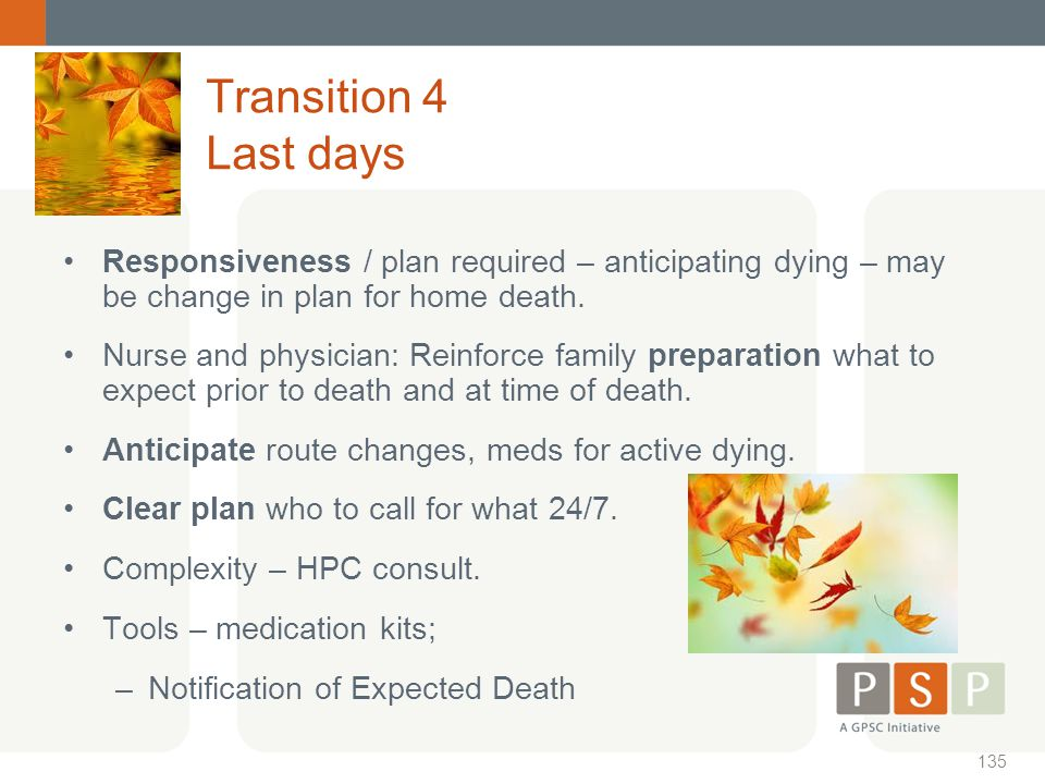Transition 4 Last days Responsiveness / plan required – anticipating dying – may be change in plan for home death.