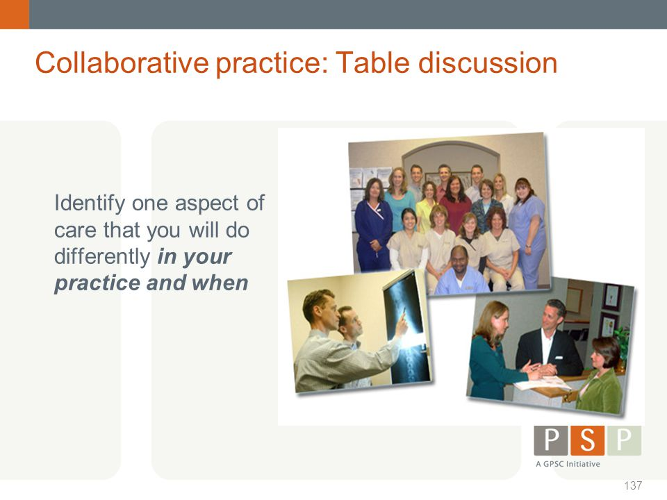 Collaborative practice: Table discussion