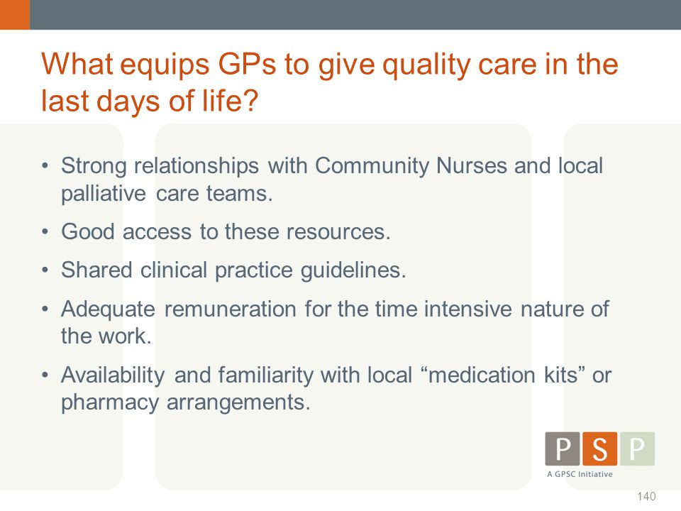 What equips GPs to give quality care in the last days of life