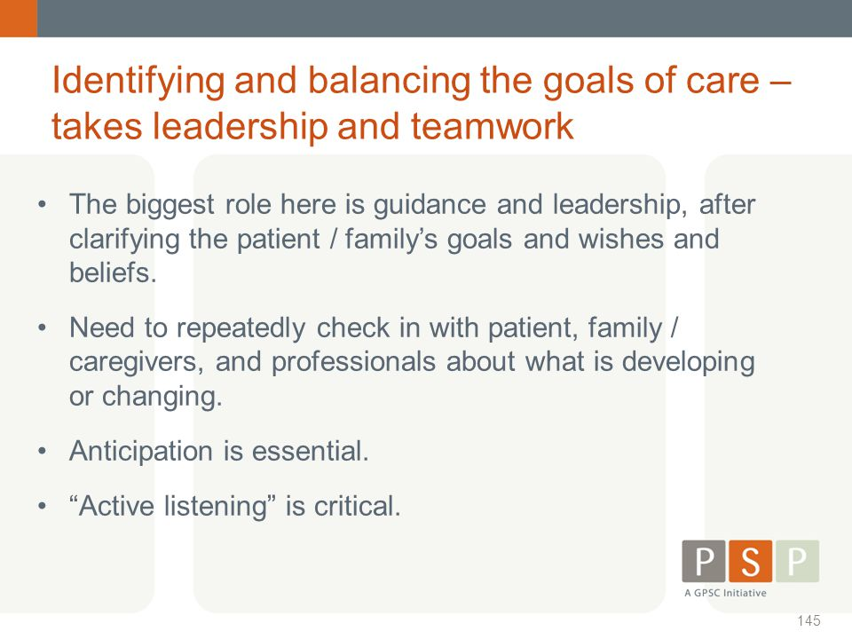 Identifying and balancing the goals of care – takes leadership and teamwork