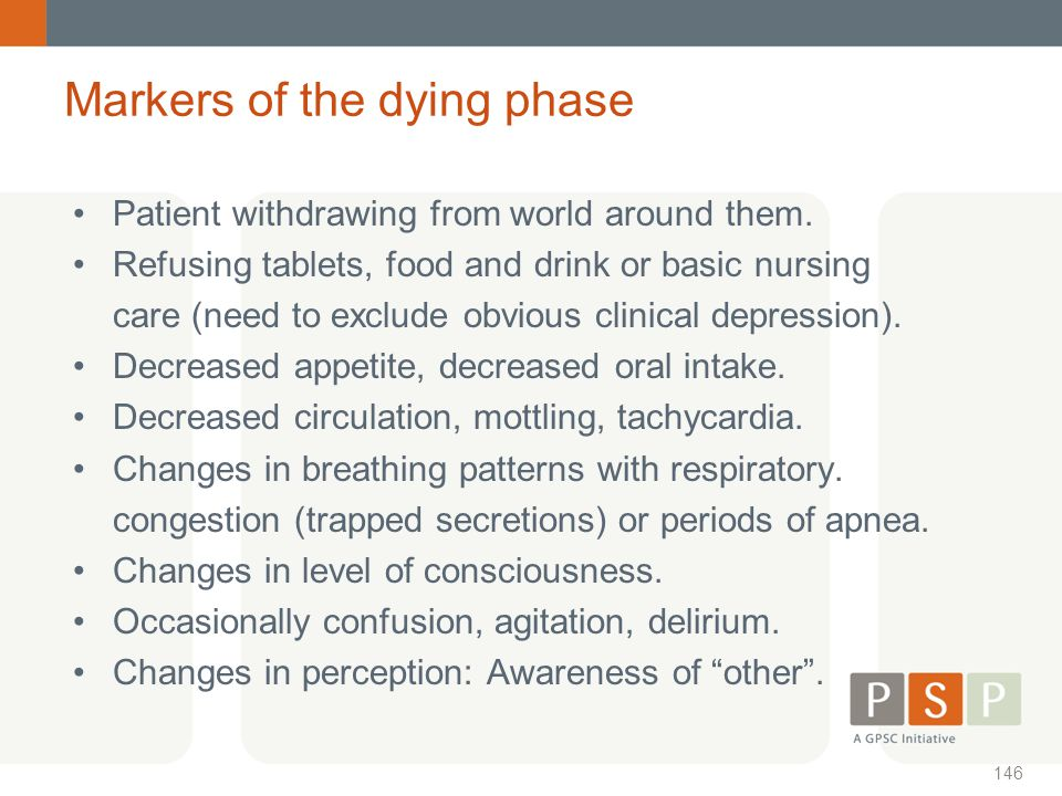 Markers of the dying phase