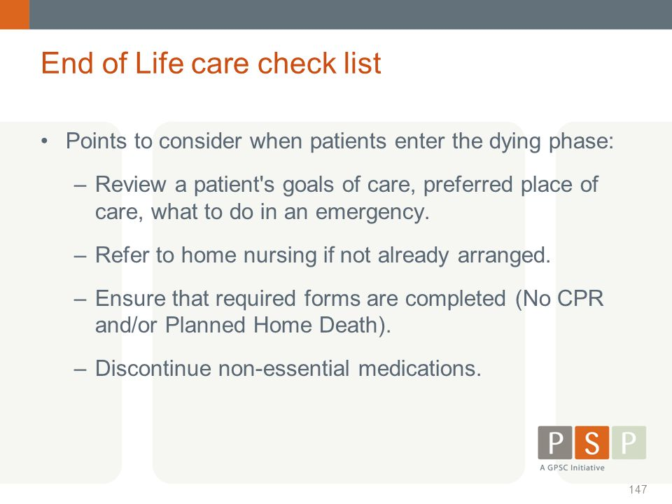 End of Life care check list