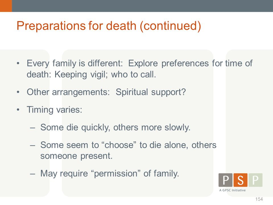 Preparations for death (continued)