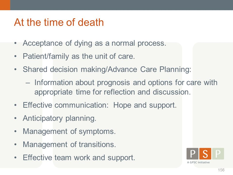 At the time of death Acceptance of dying as a normal process.