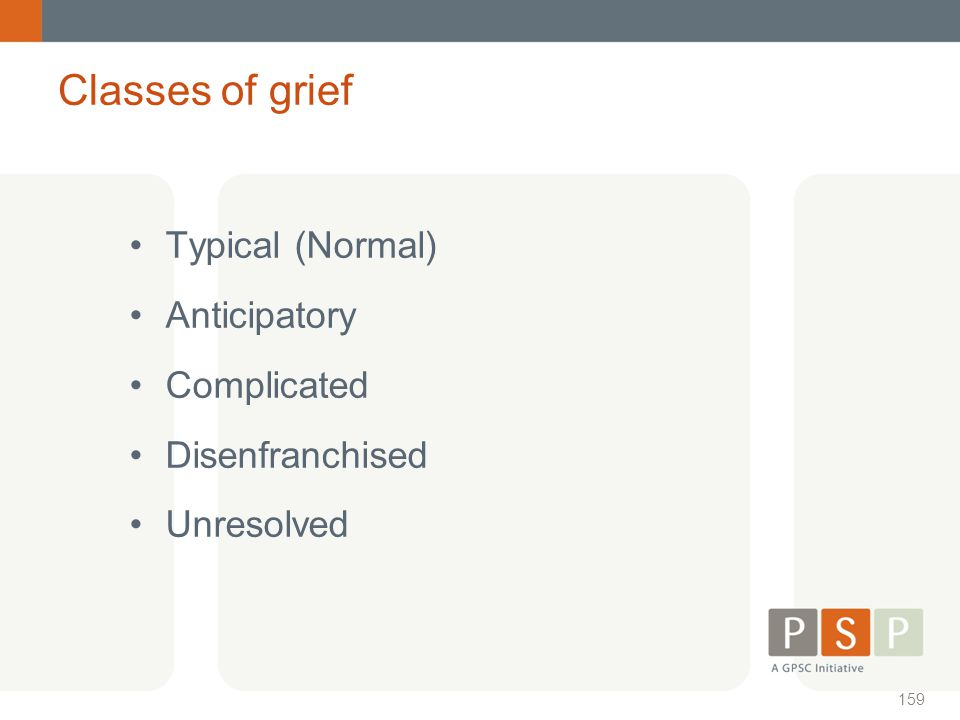 Classes of grief Typical (Normal) Anticipatory Complicated