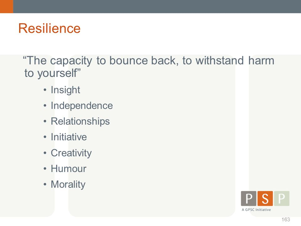 Resilience The capacity to bounce back, to withstand harm to yourself Insight. Independence. Relationships.