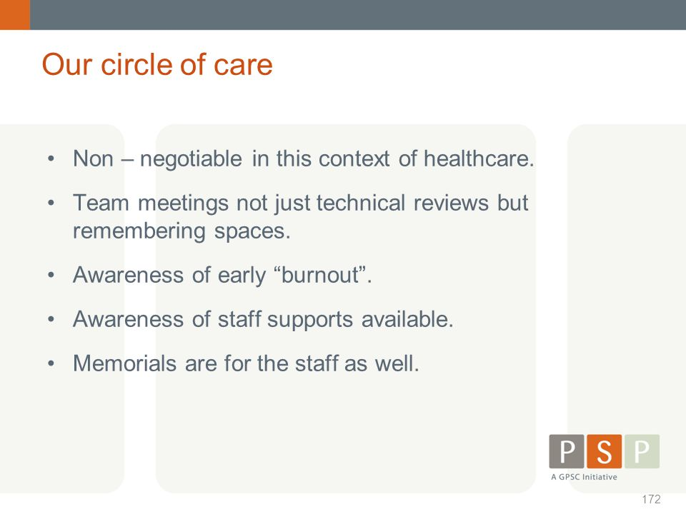 Our circle of care Non – negotiable in this context of healthcare.