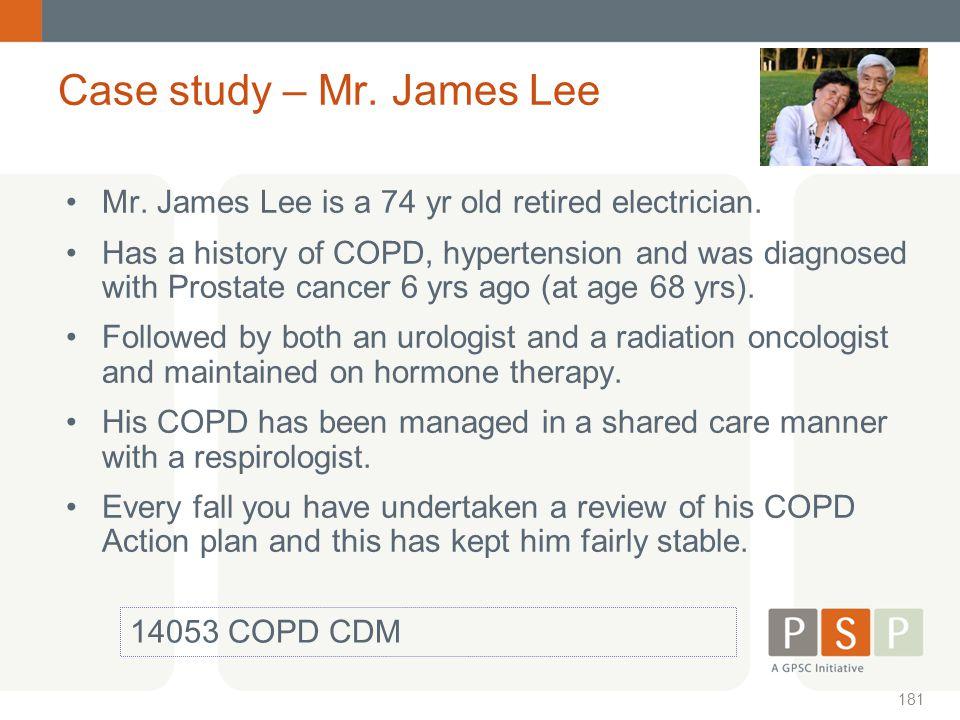 Case study – Mr. James Lee