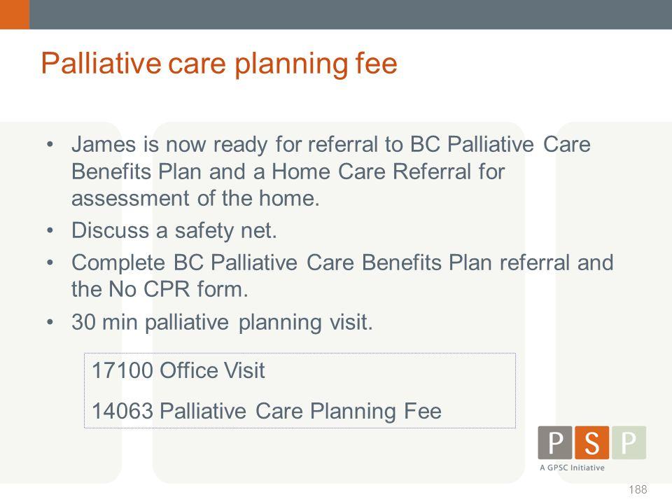 Palliative care planning fee