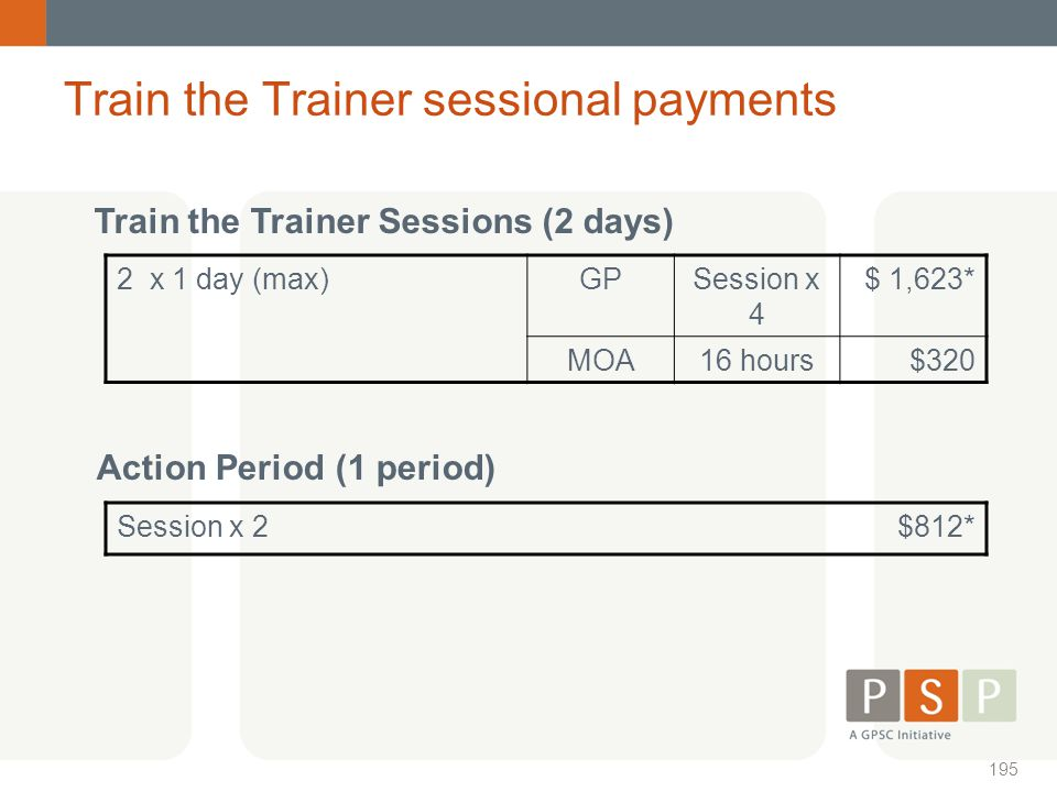 Train the Trainer sessional payments