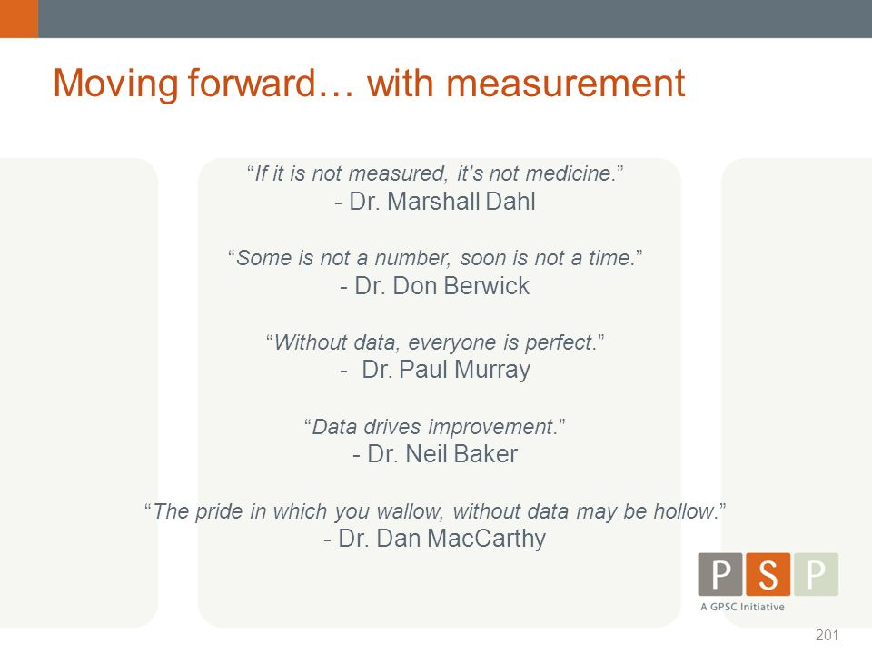 Moving forward… with measurement
