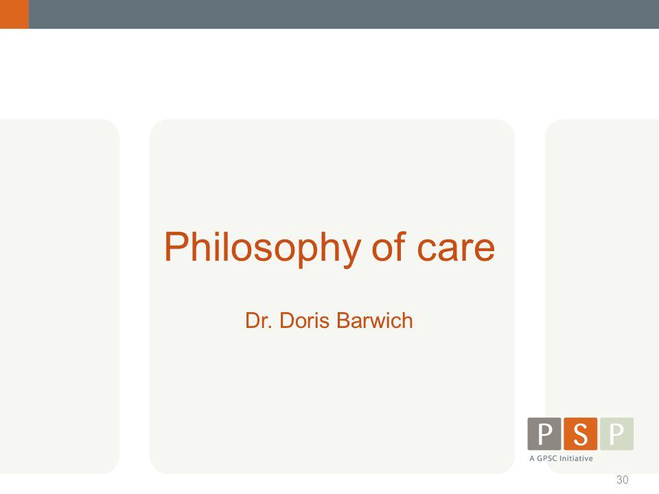 Philosophy of care Dr. Doris Barwich
