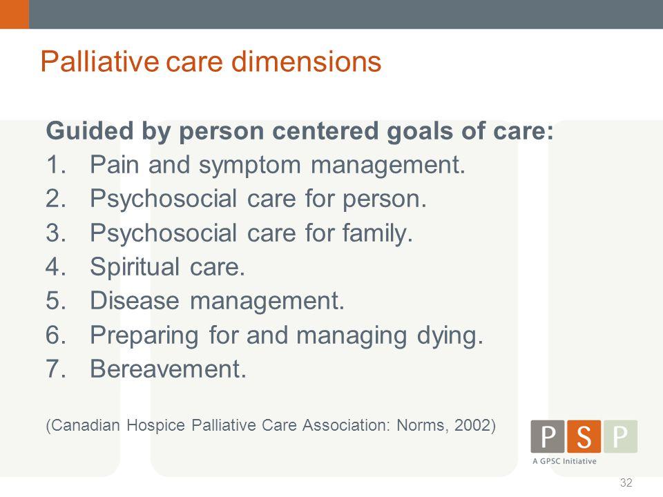 Palliative care dimensions