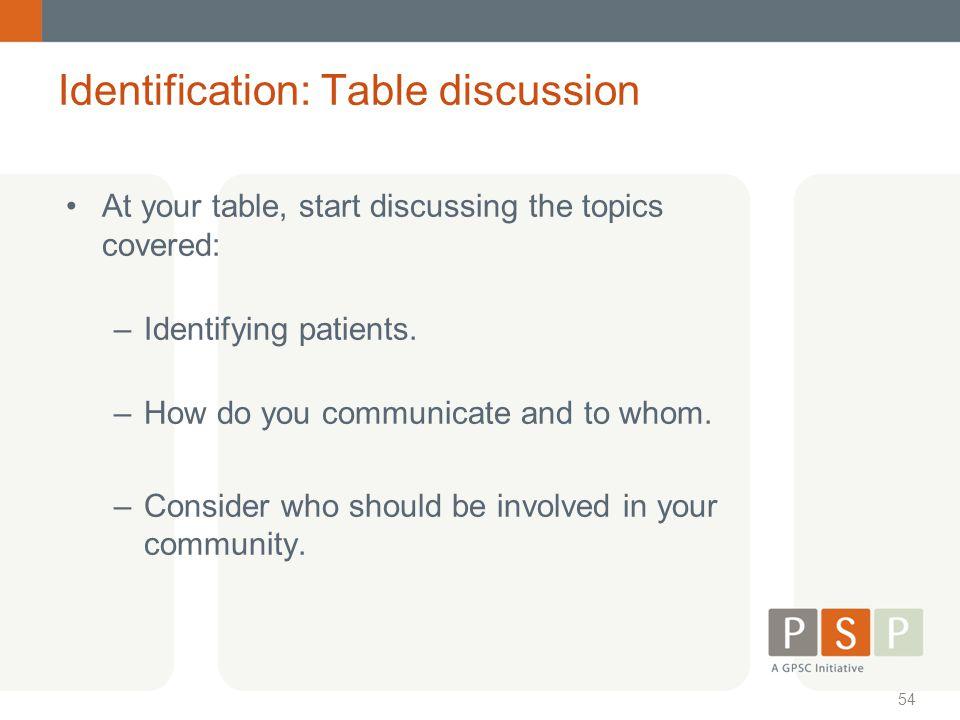 Identification: Table discussion