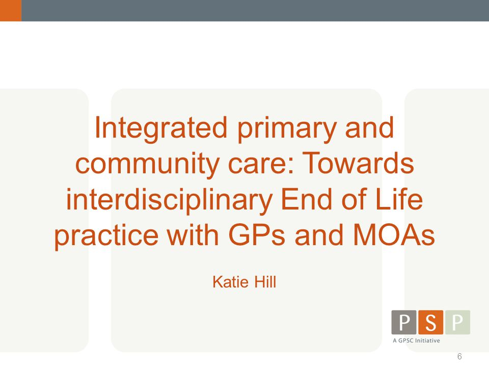 Integrated primary and community care: Towards interdisciplinary End of Life practice with GPs and MOAs