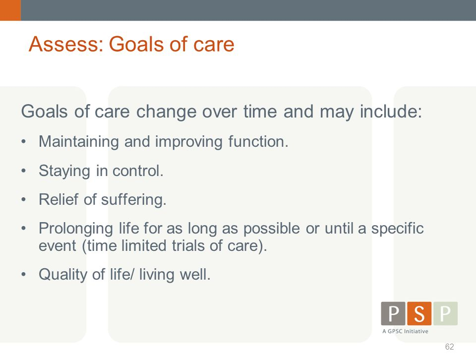 Assess: Goals of care Goals of care change over time and may include: