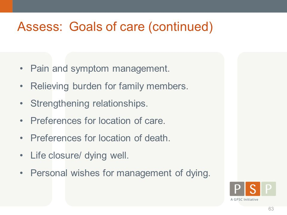 Assess: Goals of care (continued)
