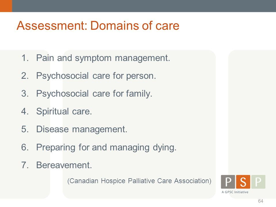 Assessment: Domains of care