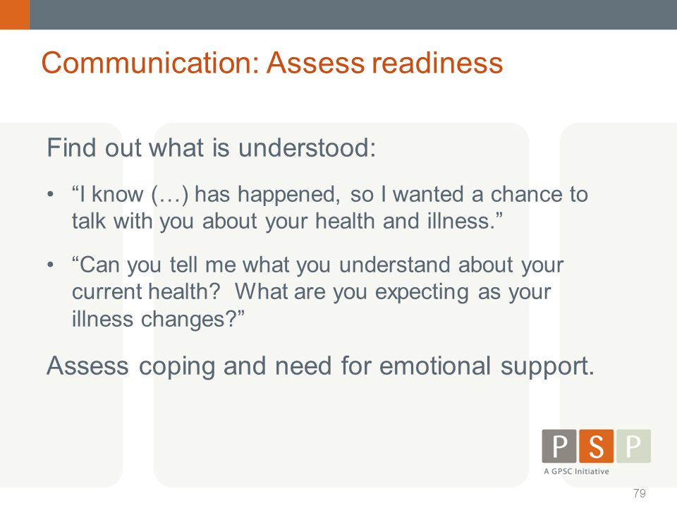 Communication: Assess readiness