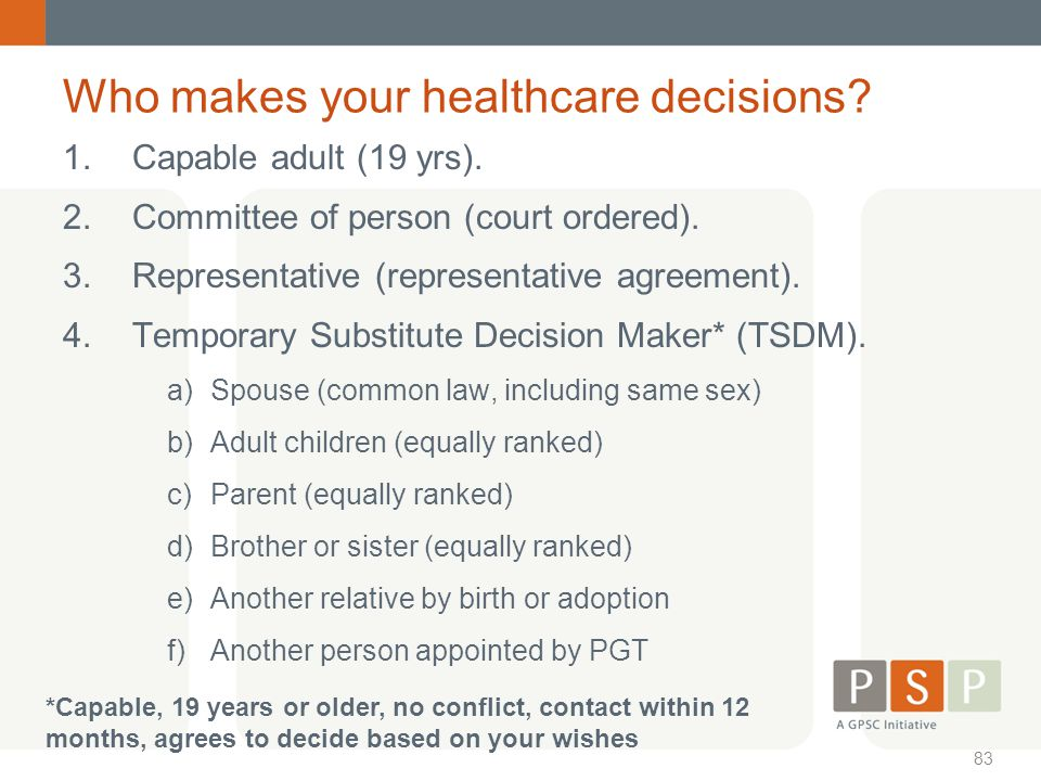 Who makes your healthcare decisions