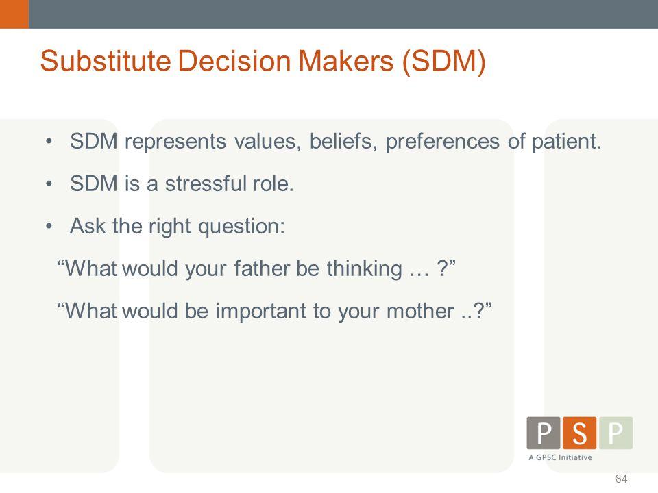 Substitute Decision Makers (SDM)