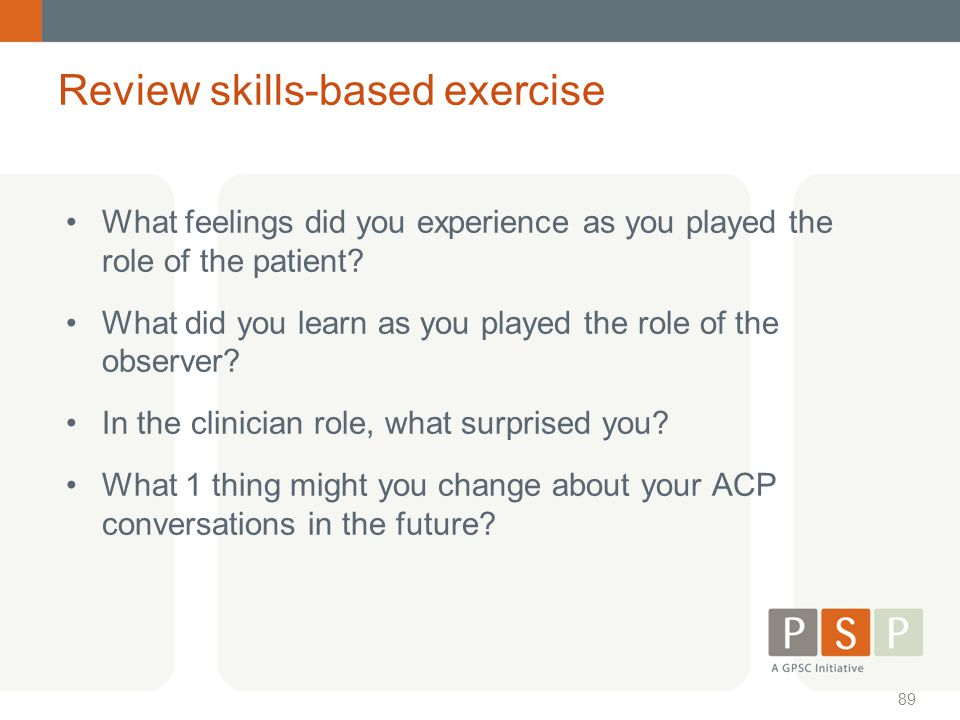 Review skills-based exercise