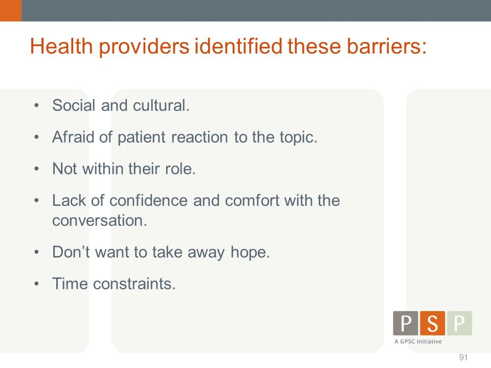 Health providers identified these barriers: