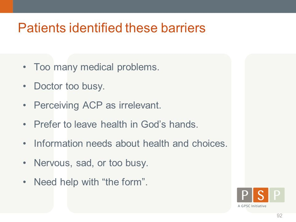 Patients identified these barriers