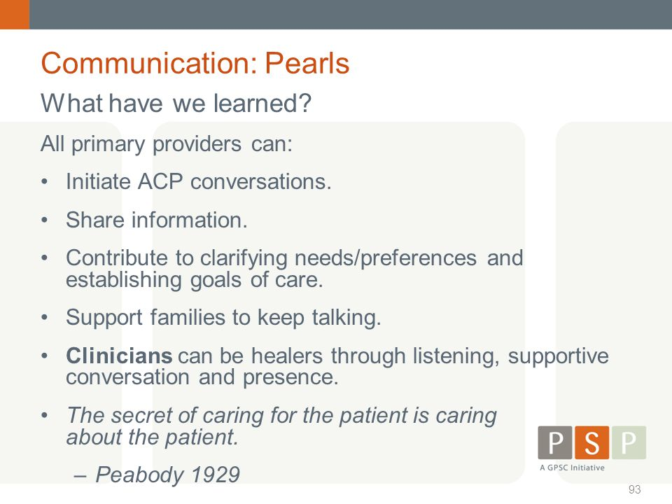 Communication: Pearls