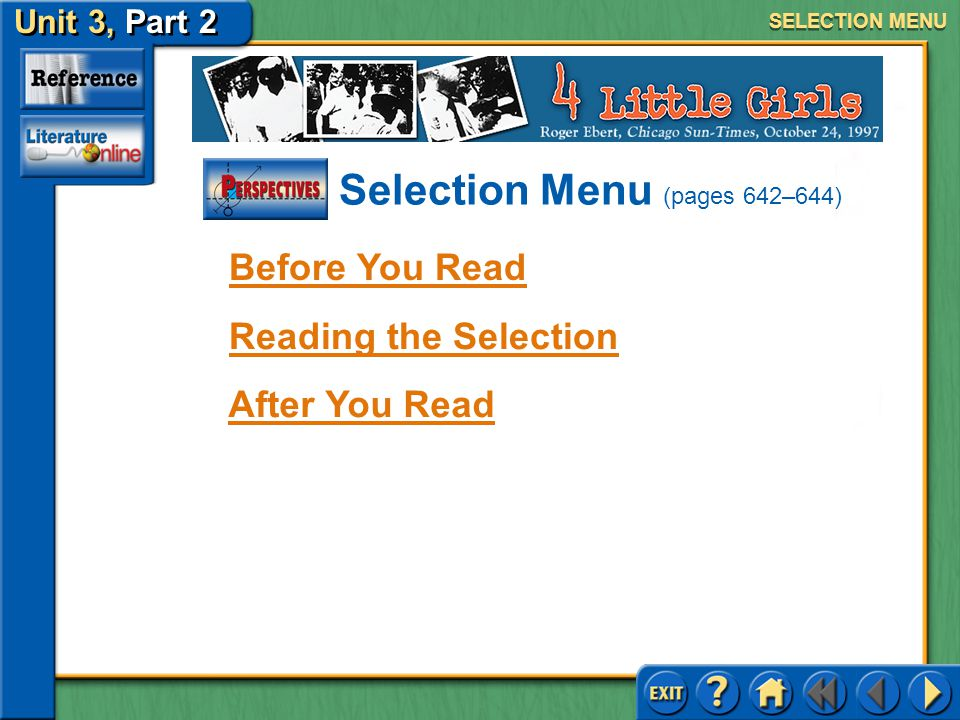 Selection Menu (pages 642–644)