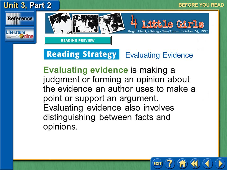 BEFORE YOU READ Evaluating Evidence.