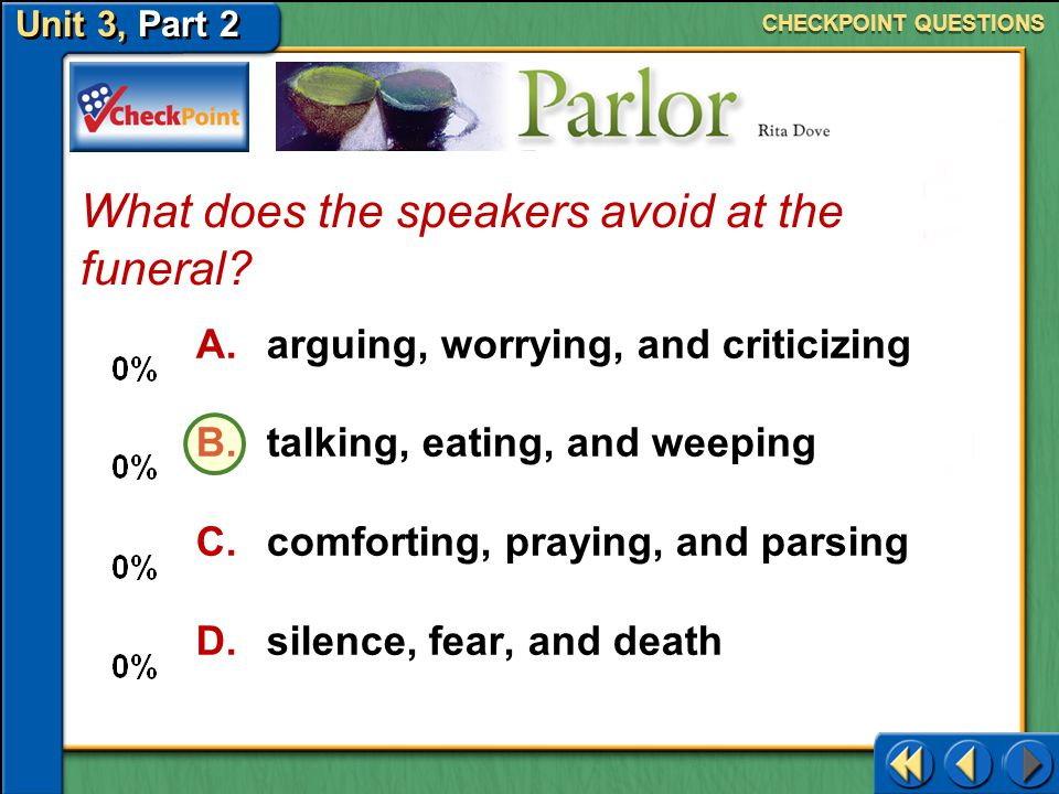 What does the speakers avoid at the funeral