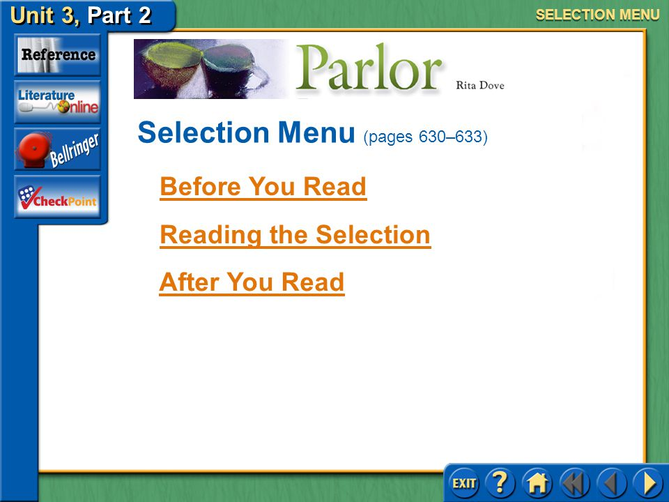 Selection Menu (pages 630–633)