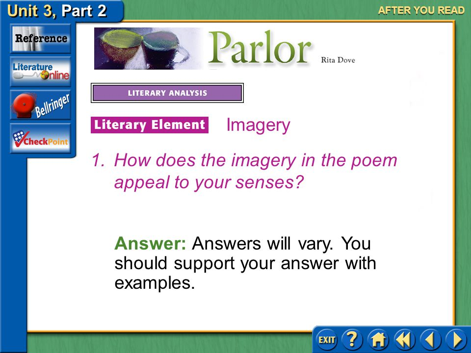 How does the imagery in the poem appeal to your senses