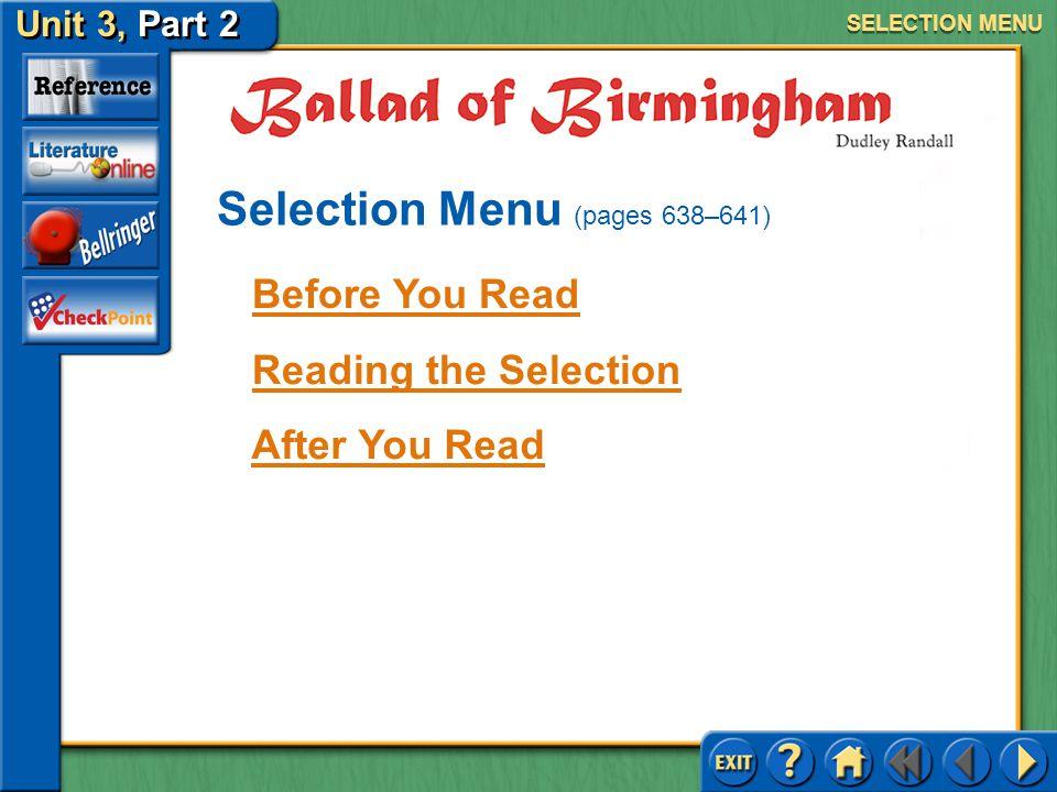 Selection Menu (pages 638–641)