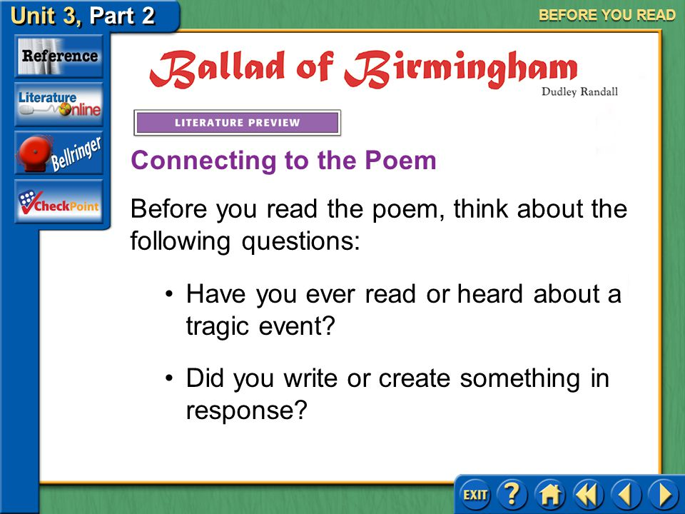 Before you read the poem, think about the following questions: